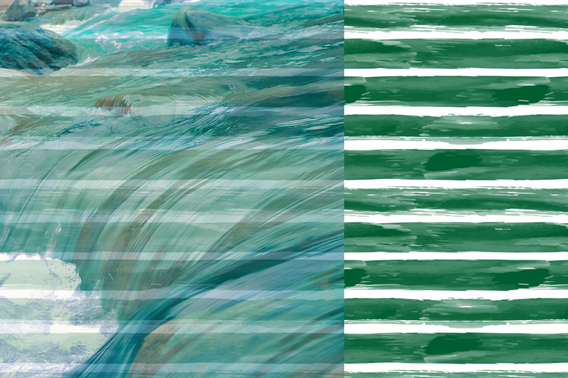 10 Stripes and Strokes Patterns with hand drawn watercolor brush strokes. example image 7