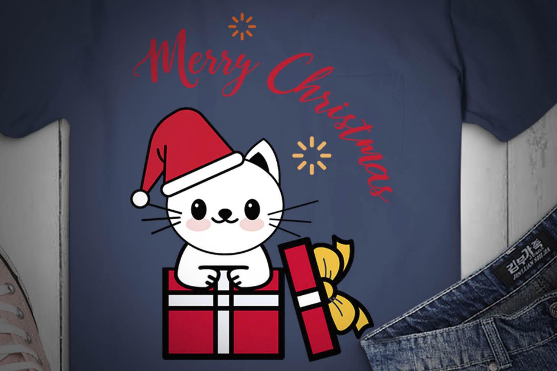 CAT SVG XMAS, Cat Christmas, white cat, cat happy christmas example image 2