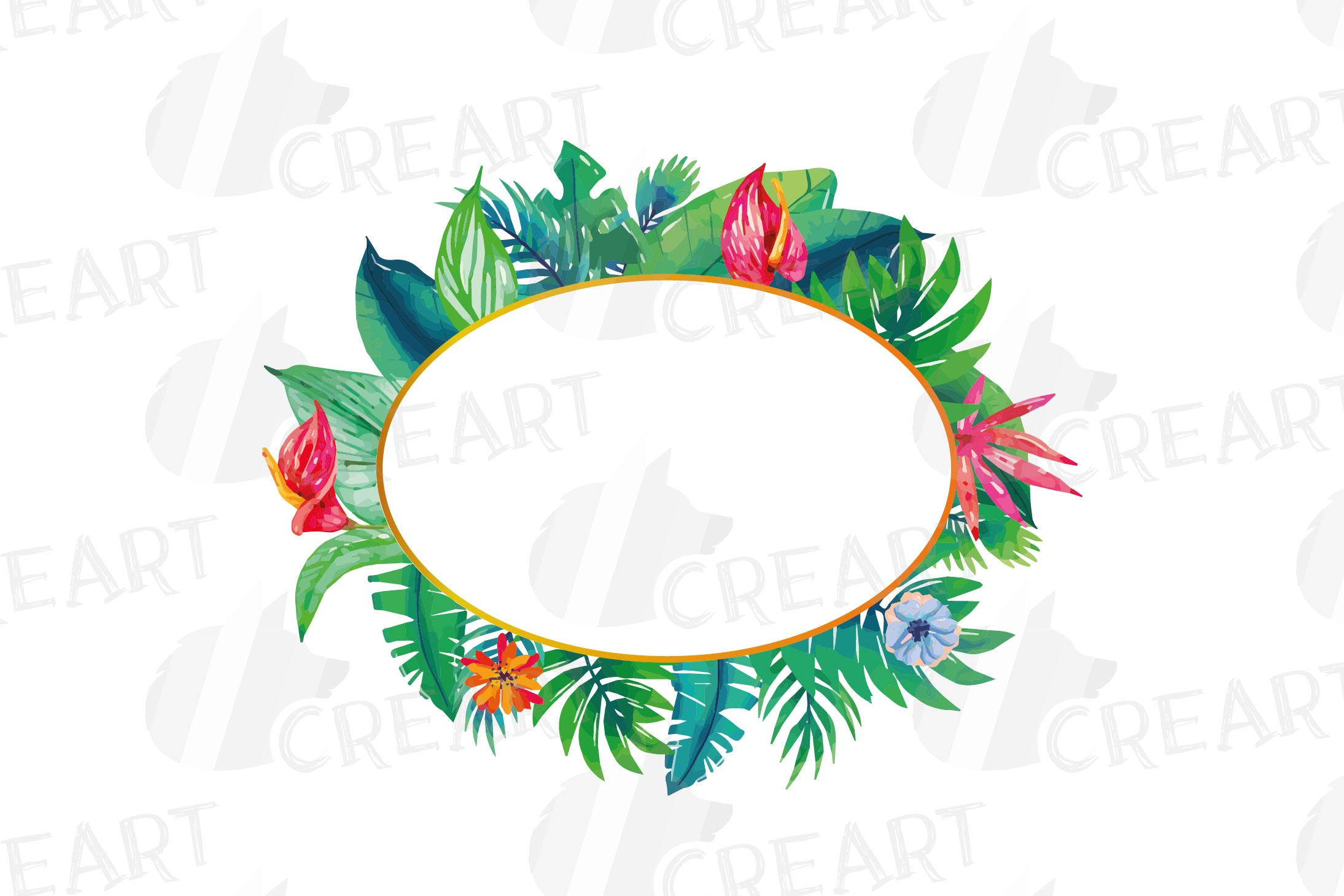 Watercolor tropical navy blue and green exotic floral frames example image 10