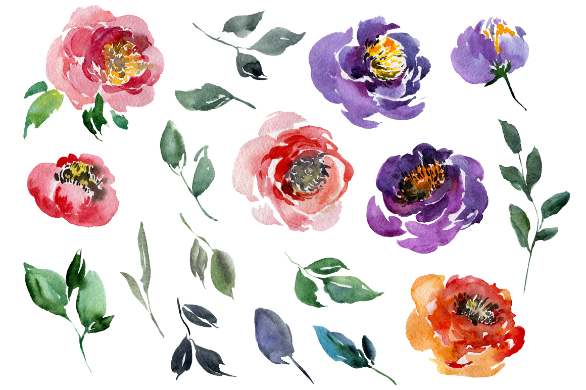 Violet & Red Watercolor Flowers PNG example image 2