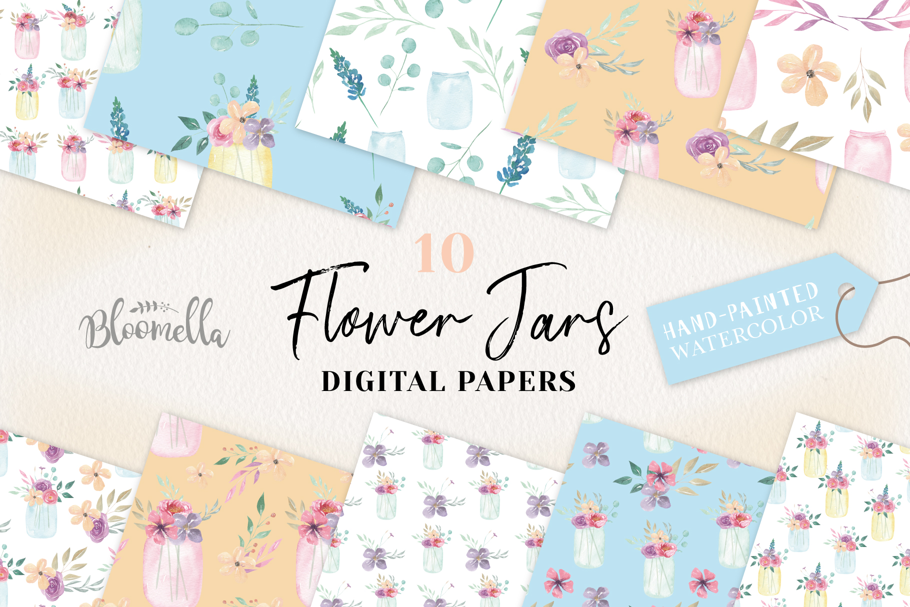Flower Jars Seamless Patterns Digital Papers Foliage Spring example image 1