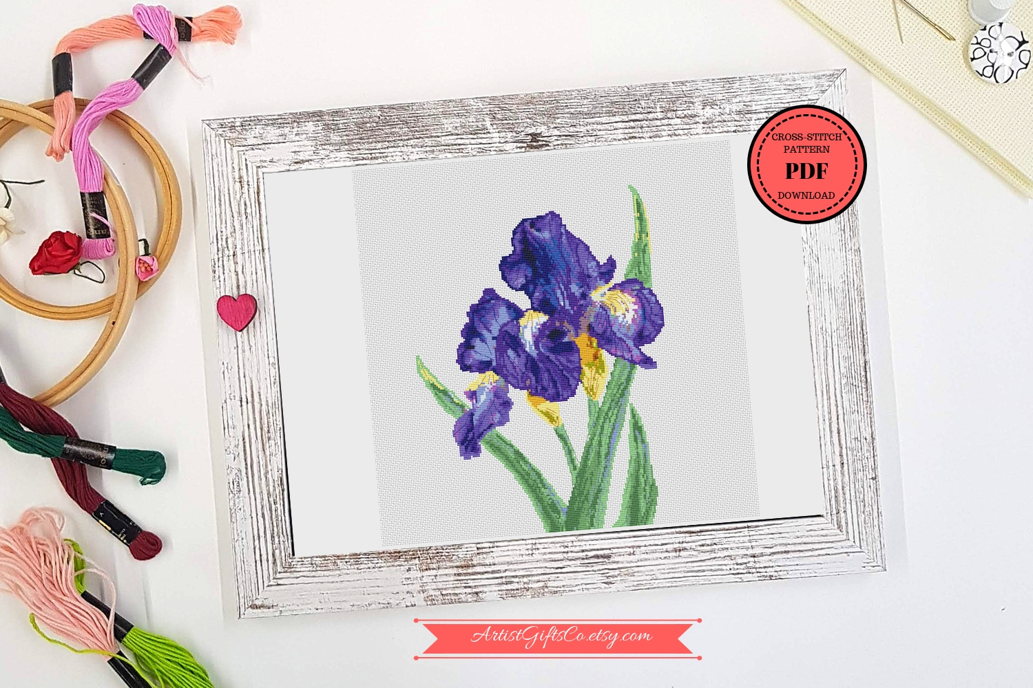 Botanical Art Cross stitch pattern PDF Iris Purple bouqets example image 1