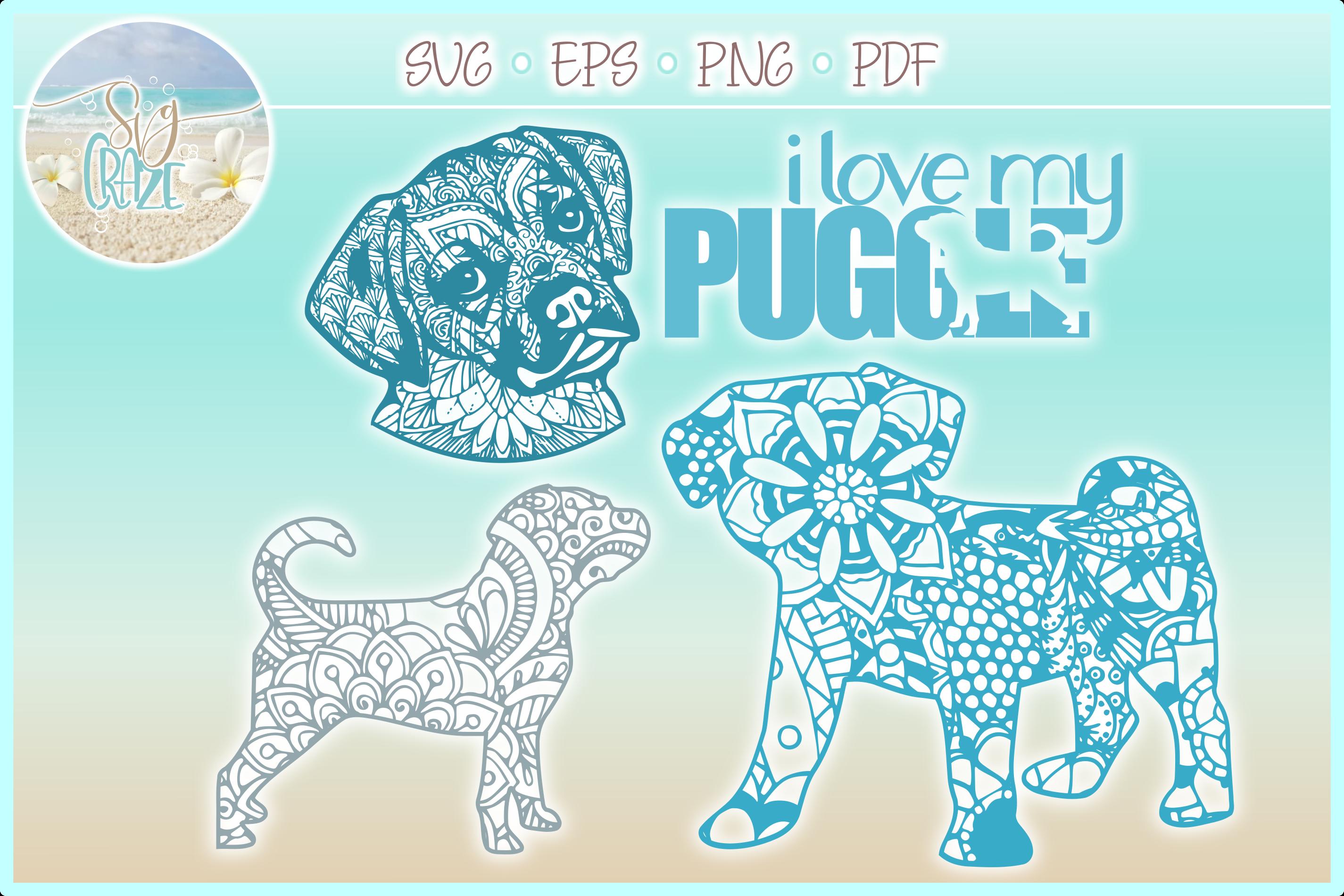 Puggle Mandala Zentangle Bundle SVG Eps Png PDF example image 1