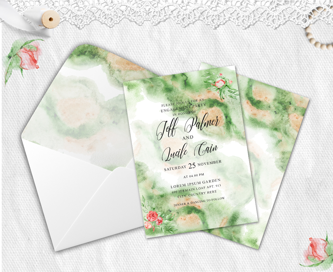 Gold Greenery floral Watercolor Wedding Invitation suite example image 3
