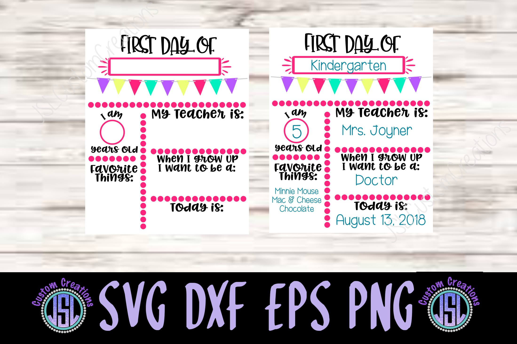 1st day of school sign template svg dxf eps png digital file example image 2