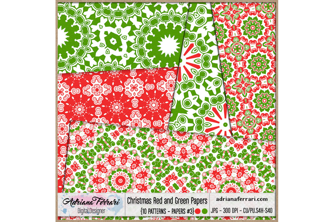 Christmas Red and Green Papers 3 example image 3