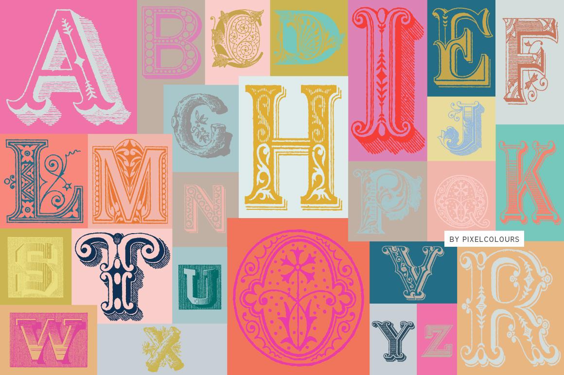 Antique Ornaments Alphabet Font example image 1