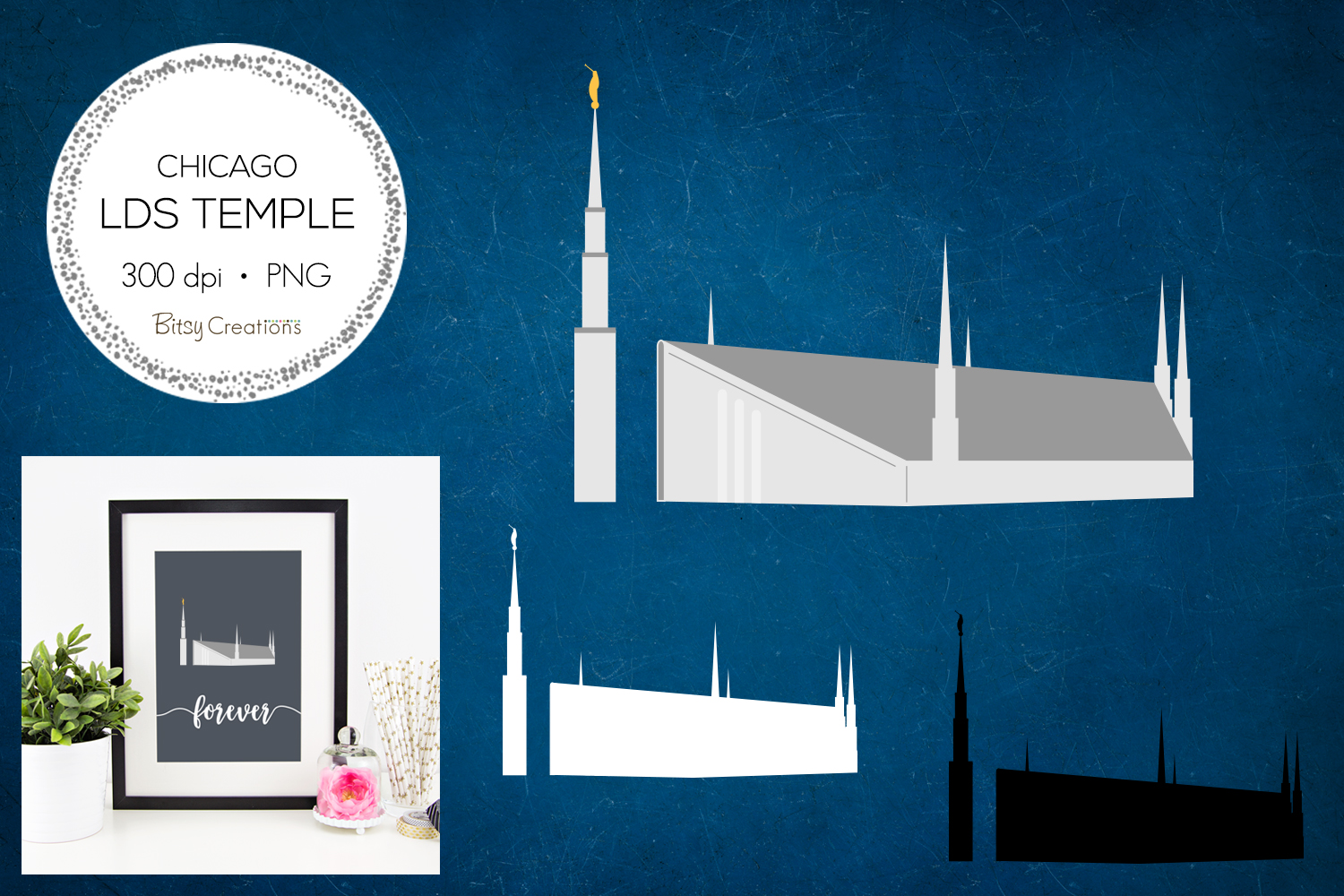 Chicago Illinois LDS Temple Clipart example image 1