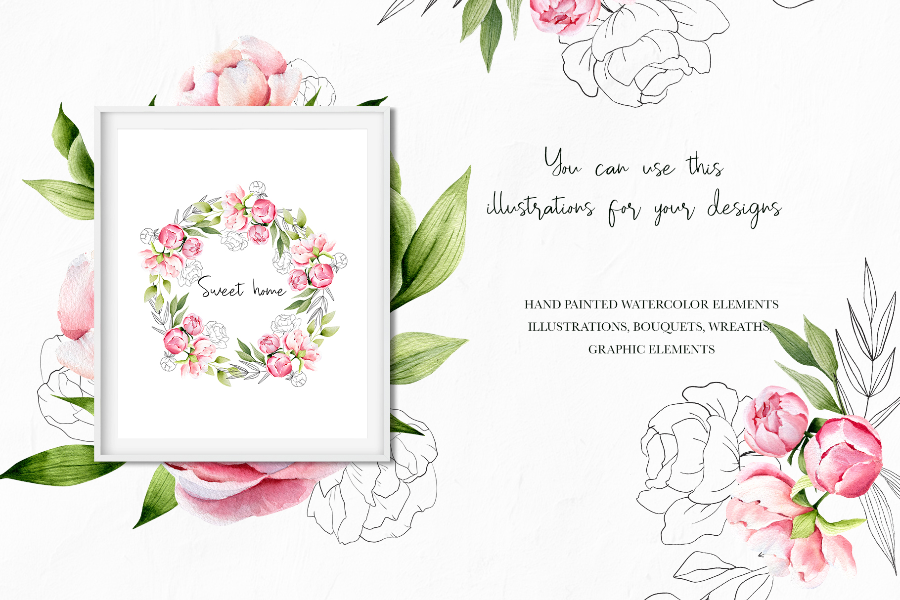 Watercolor summer pink peonies, wedding clipart, spring example image 4