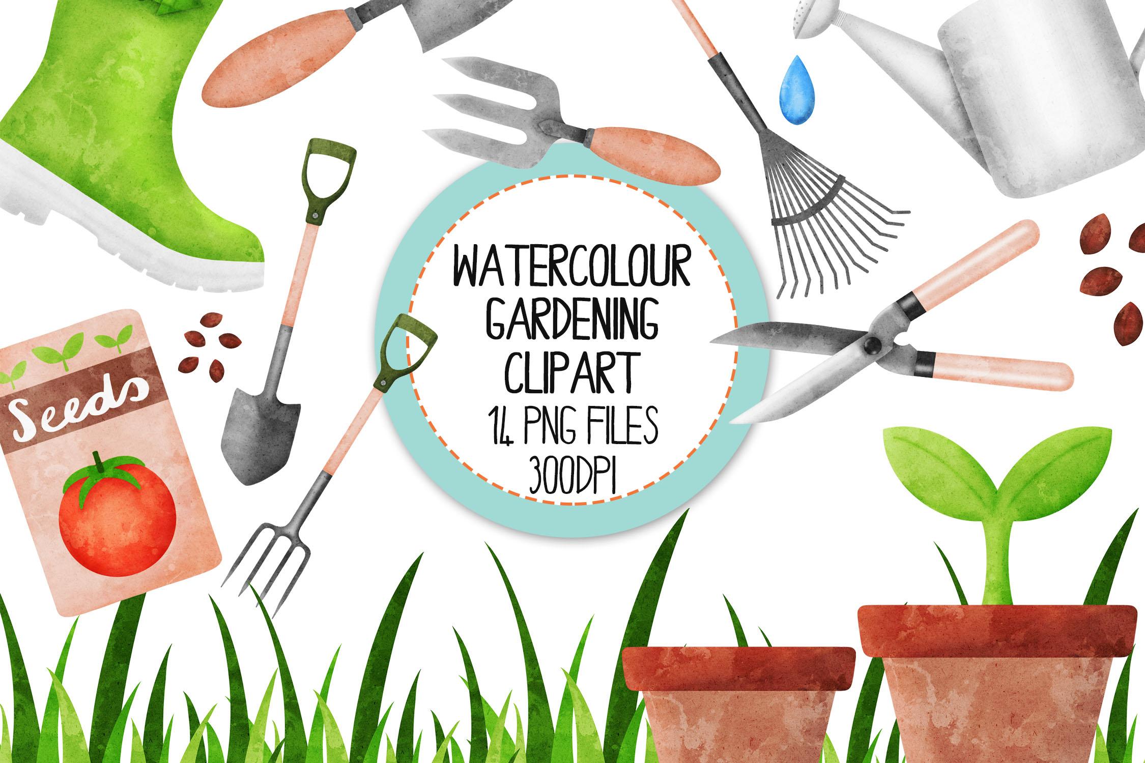 Watercolor Gardening Clip Art Set example image 1