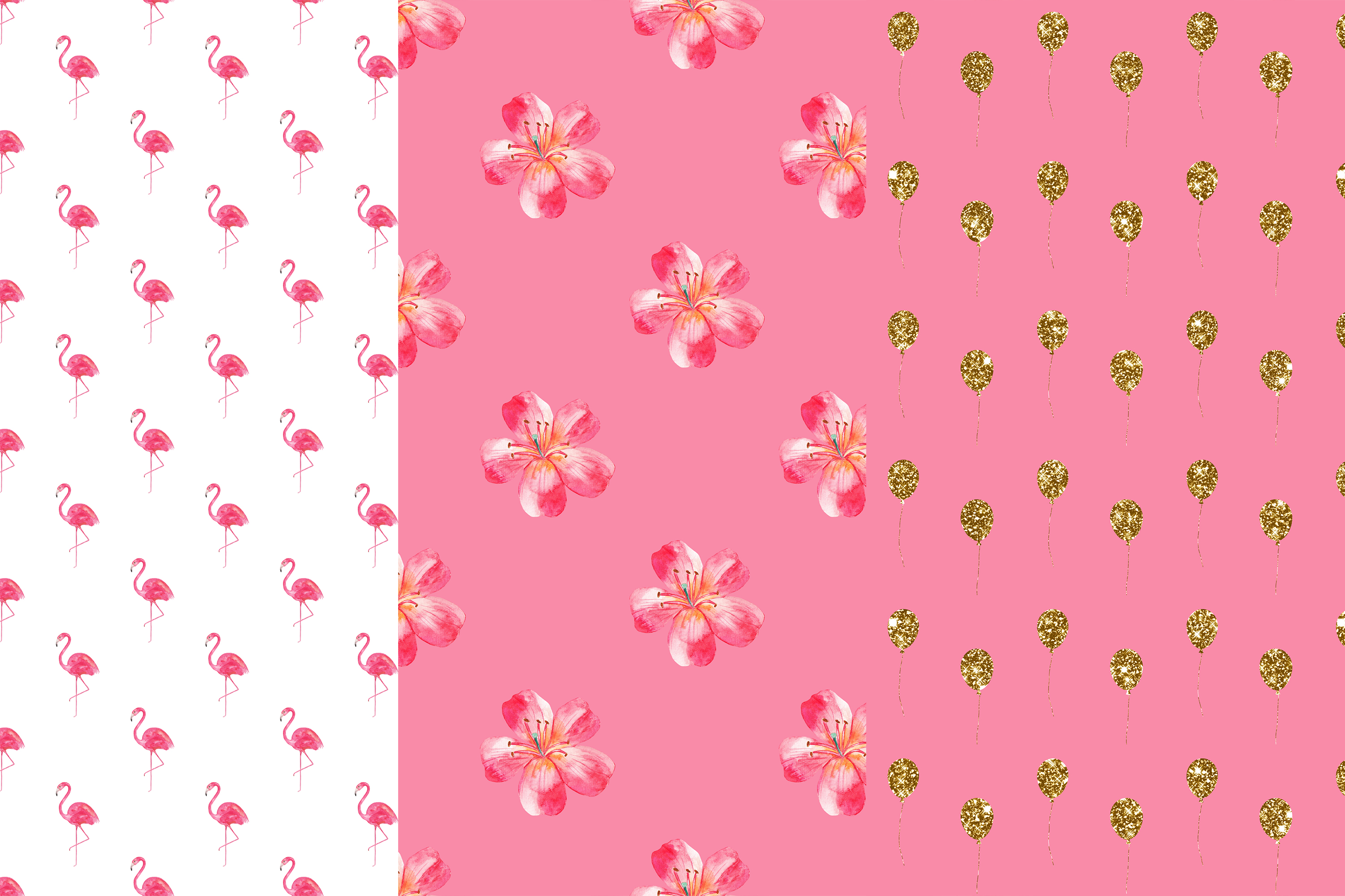 Tropical Digital Papers, Flamingo Seamless Patterns example image 2