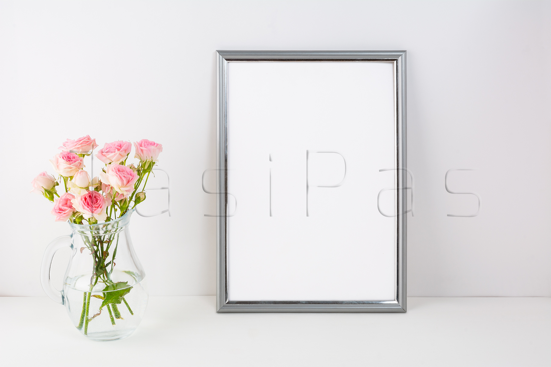 Silver frame mockup with pink roses example image 2