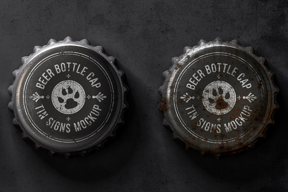 Bottle Cap Metal Tin Signs Mockup example image 4