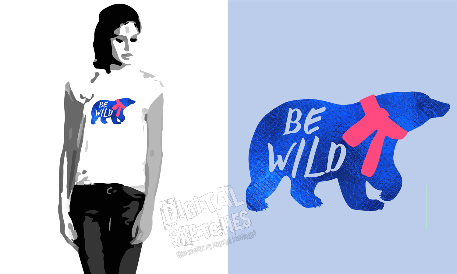 Bear Vector Graphic, Be Wild Saying Cut File, Bear SVG example image 3