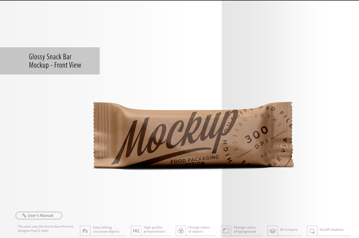 Kraft Snack Bar Mockup - Front View example image 2
