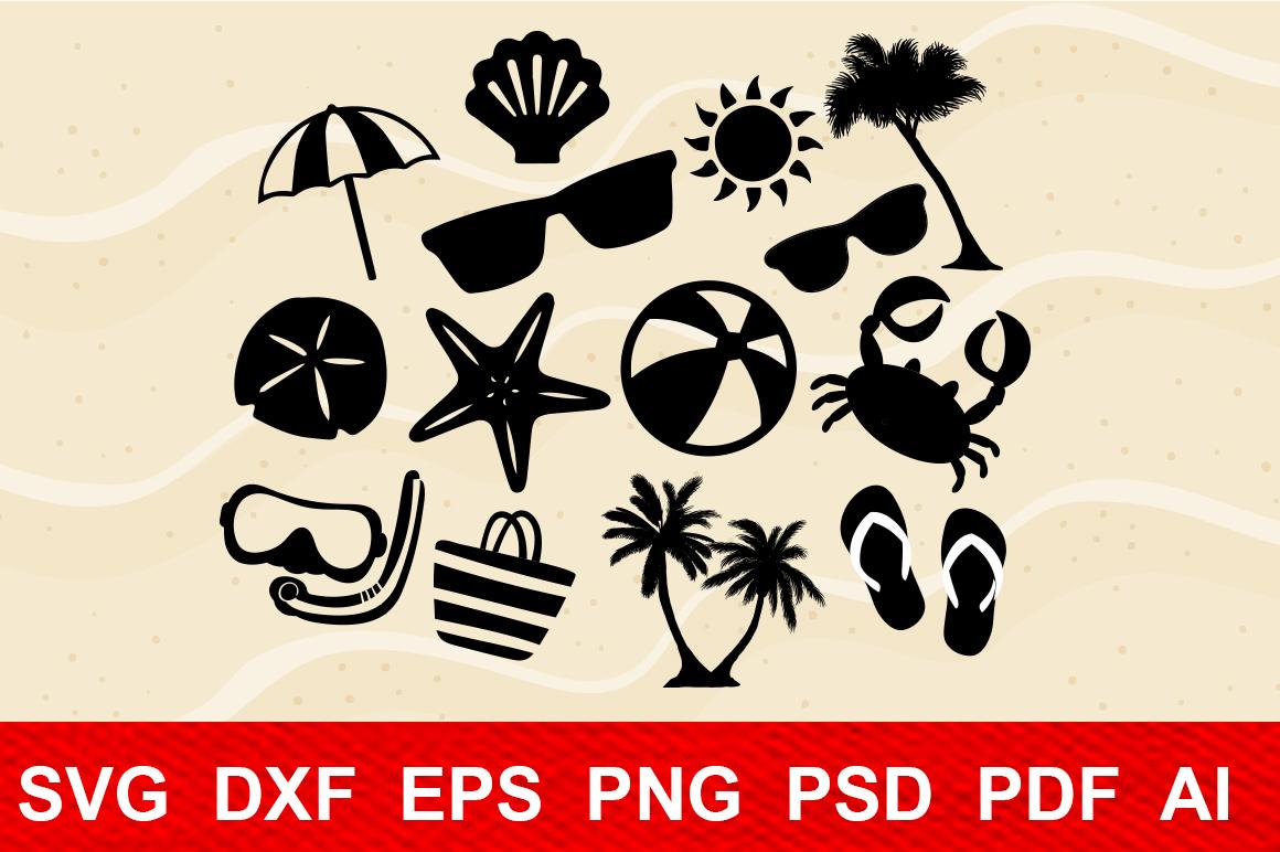 Beach Life Bundle,cutting machines,digital clipart,sun, palm example image 1