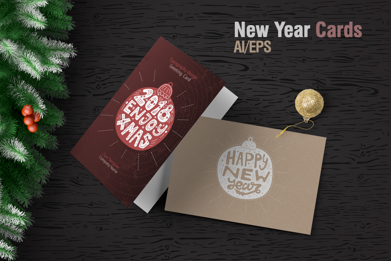 New Year cards&Typography example image 1