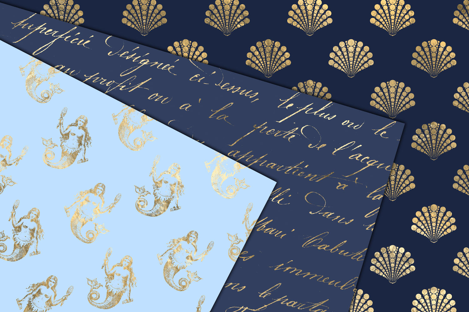 Blue and Gold Mermaid Digital Paper example image 2