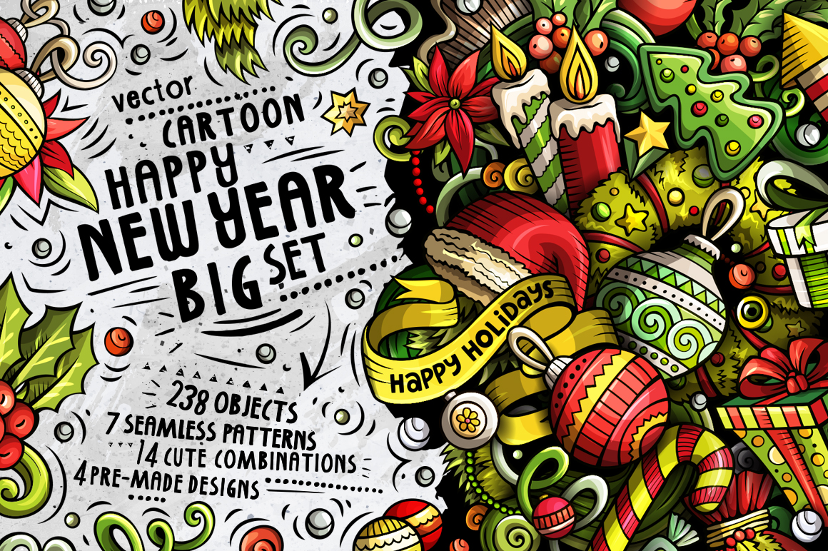 Happy New Year Doodle Big Pack example image 1