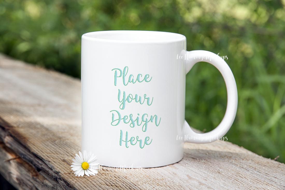 White Coffee 11oz mug mockup bokeh nature template for design example image 3