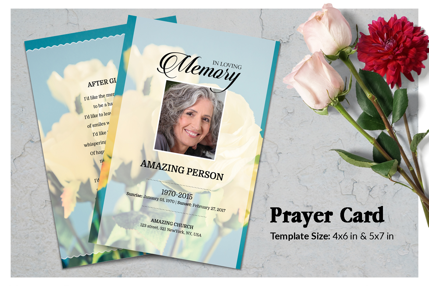 Yellow Flower Funeral Prayer Card Template example image 1