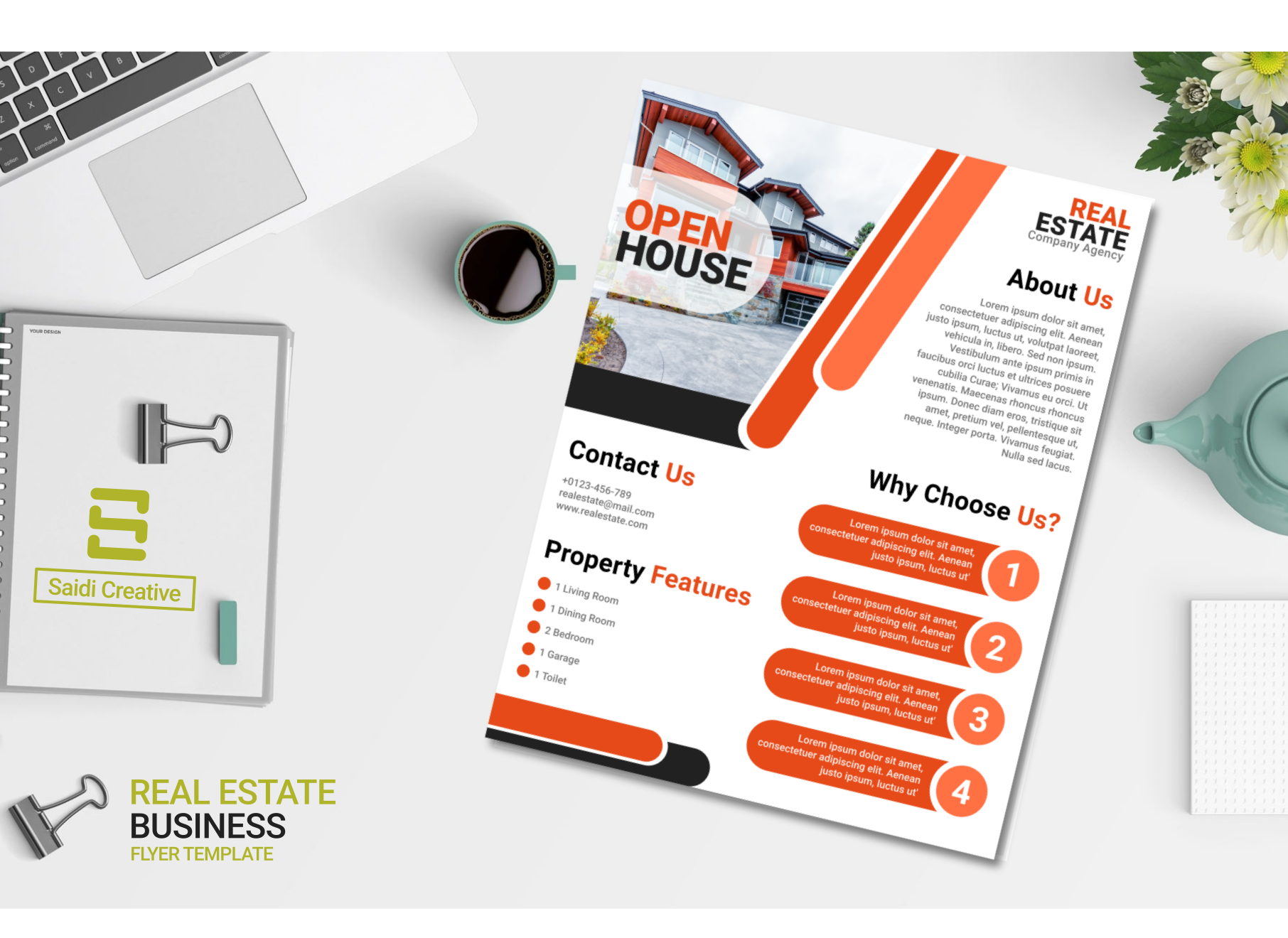 Real Estate Business Flyer Template Design With Orange Color