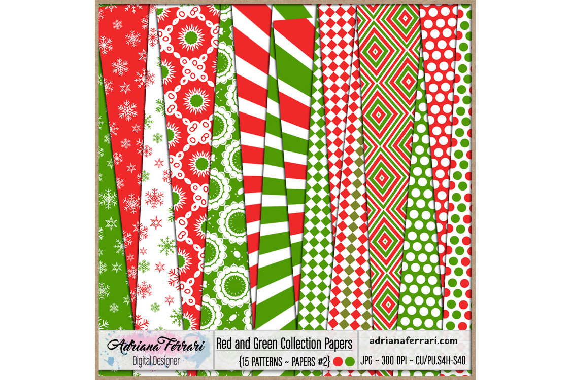 Red and Green Collection Papers 2 example image 1
