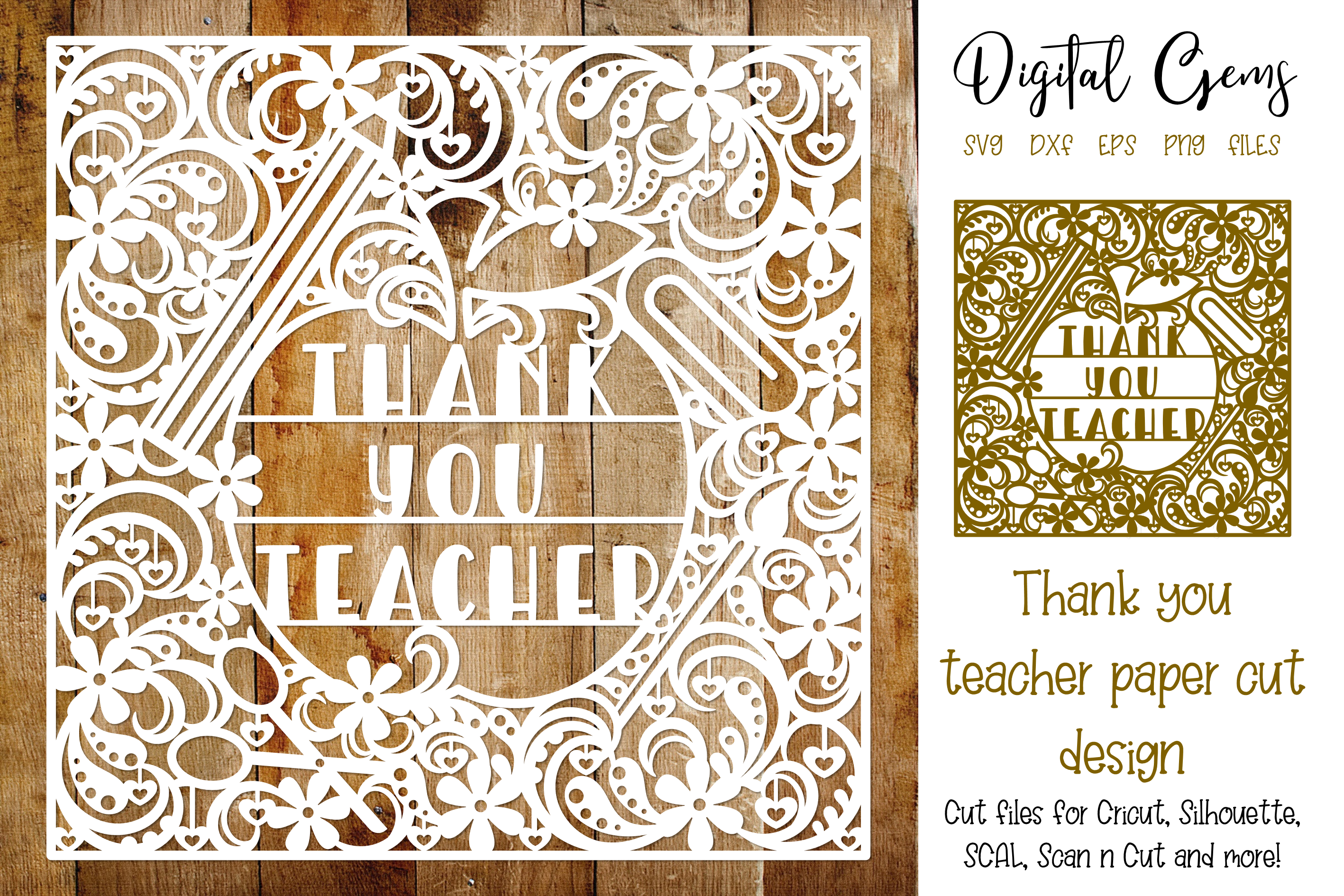 Thank you,Teacher paper cut design SVG / DXF / EPS / PNG example image 1