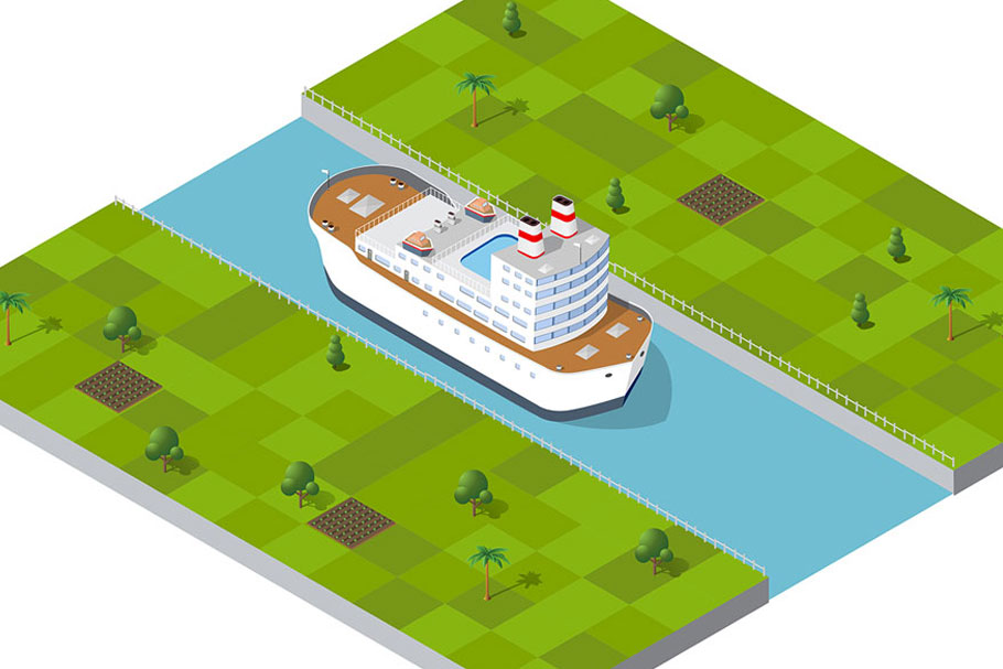 Isometric port cargo ship example image 8