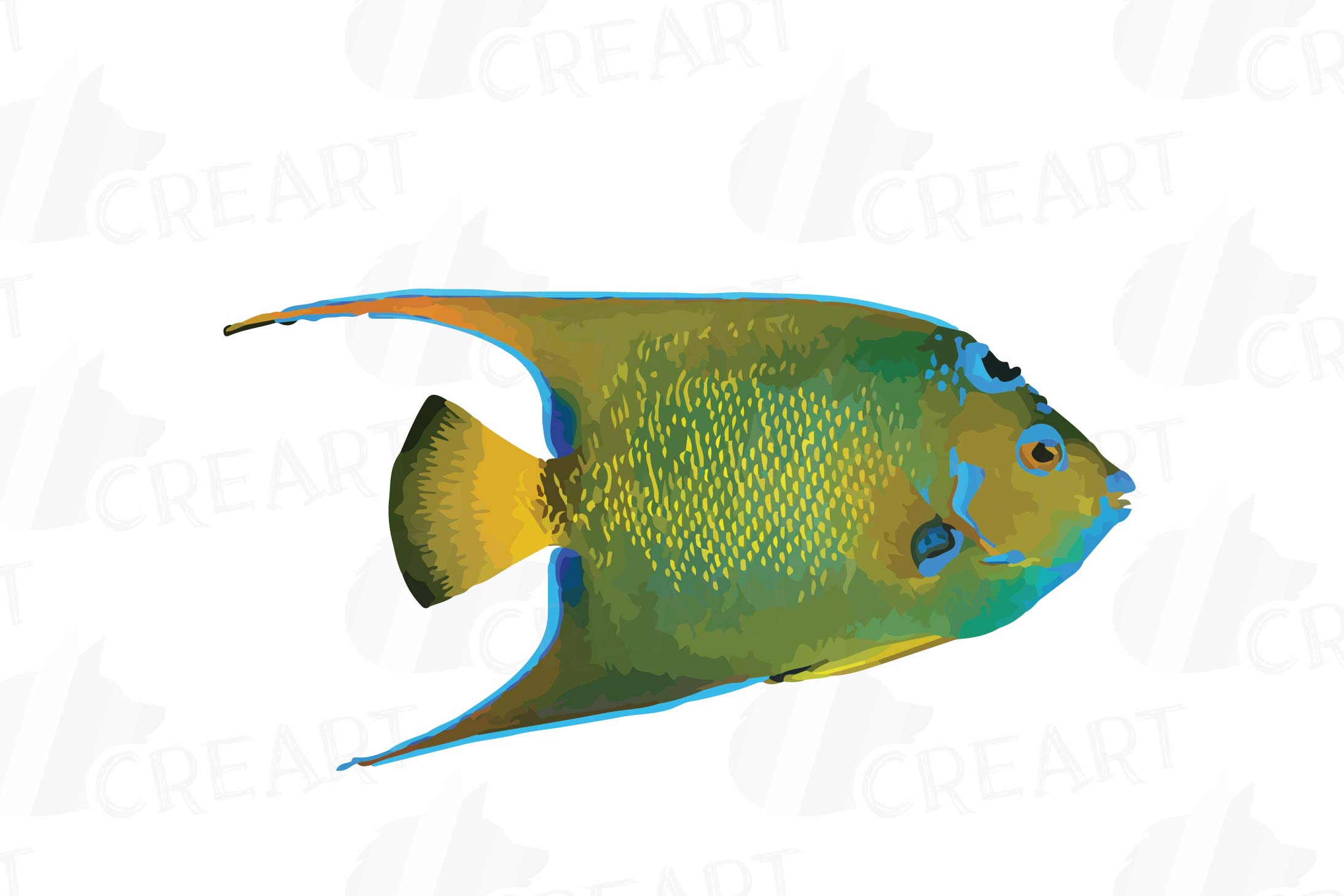 Watecolor Tropical Fish Clip Art 12 Vectors Example Image 6