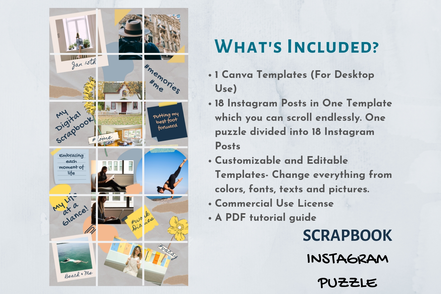 Instagram Puzzle Template Canva- My Scrapbook example image 3