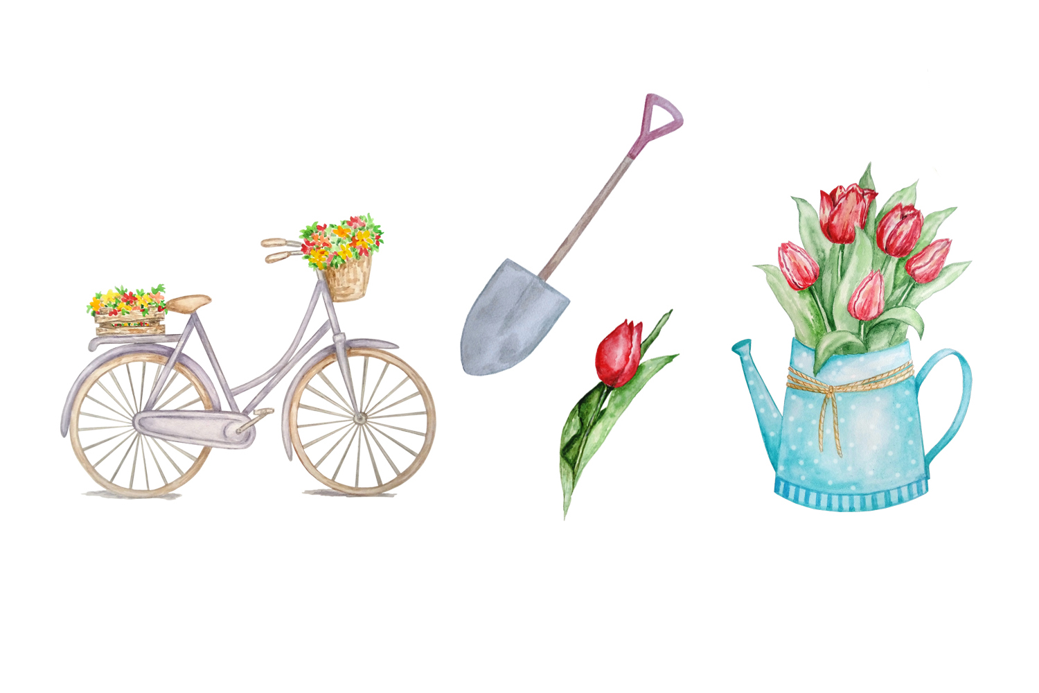 Watercolor Spring Clipart Set example image 3