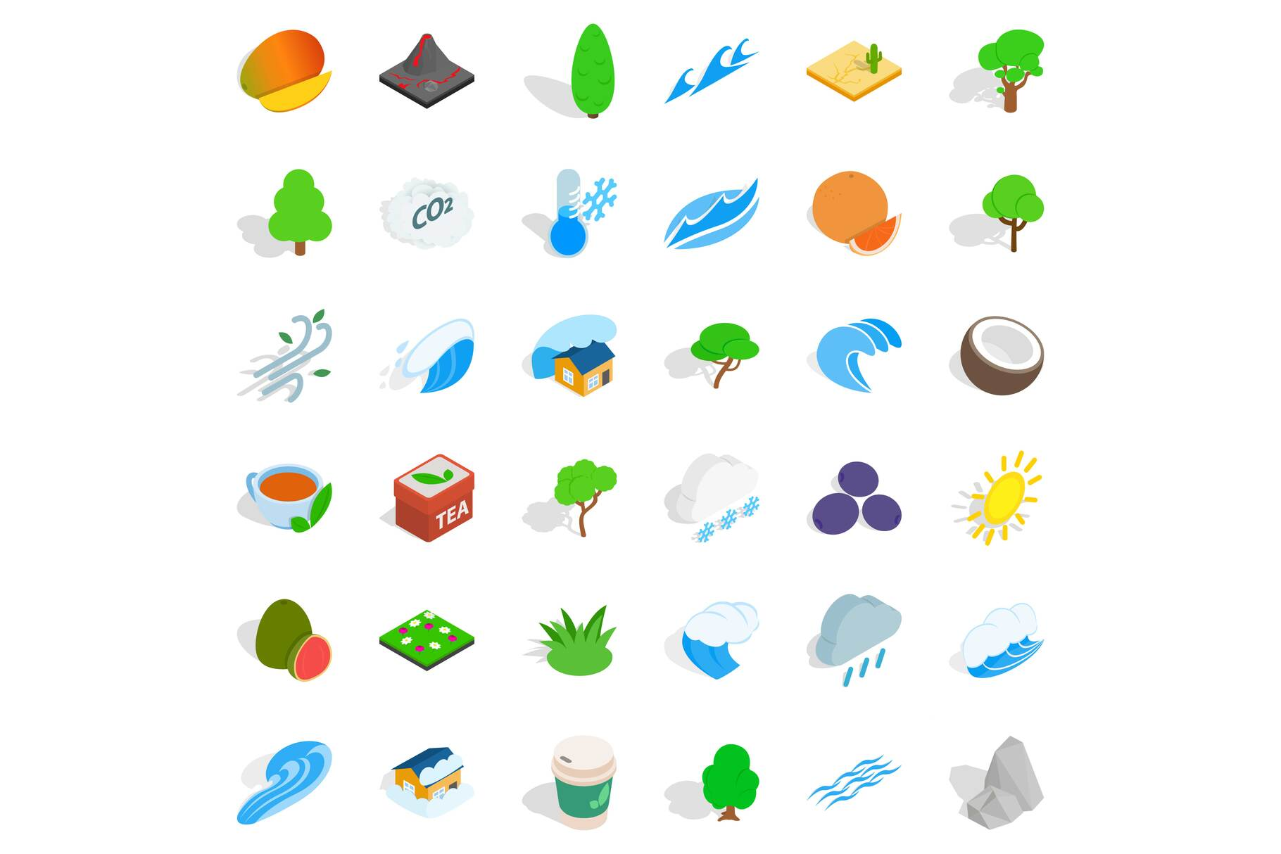 Garden tree icons set, isometric style example image 1