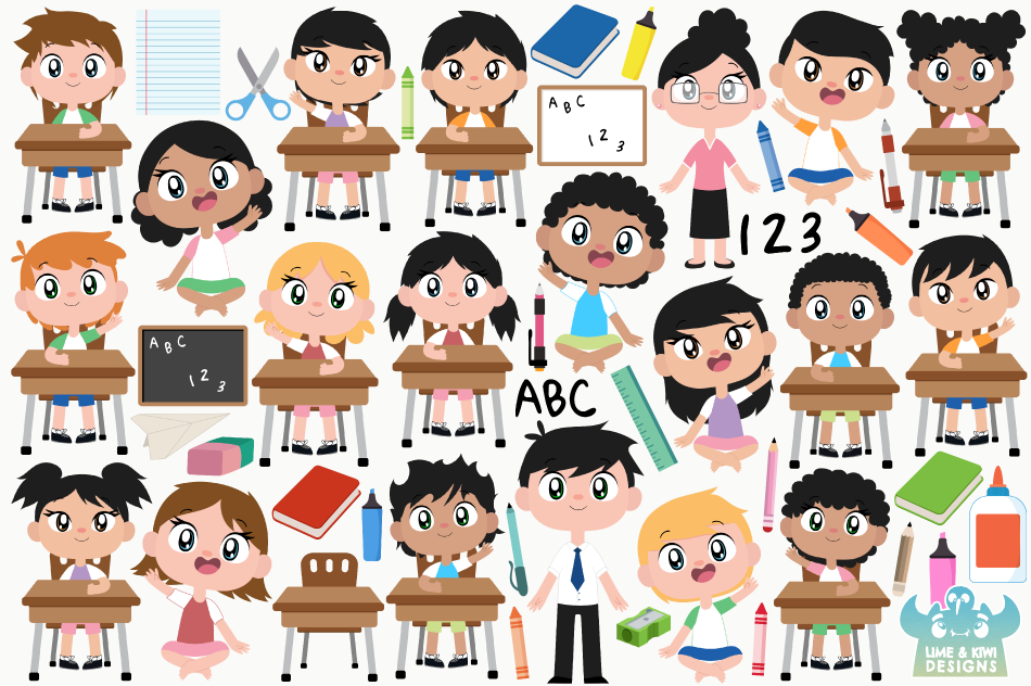 Classroom Clipart, Instant Download Vector Art example image 2