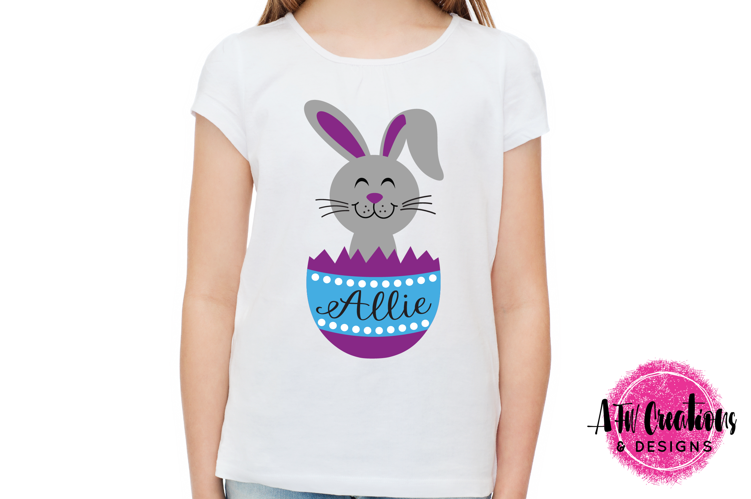 Easter Bunny Egg Duo - SVG, DXF, EPS Cut Files example image 3
