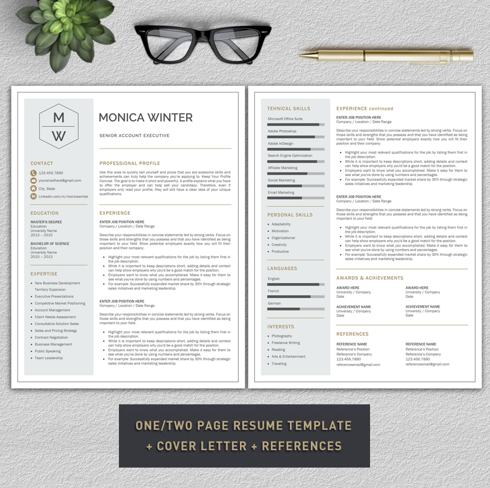 Resume Template / CV Template / Cover Letter example image 2