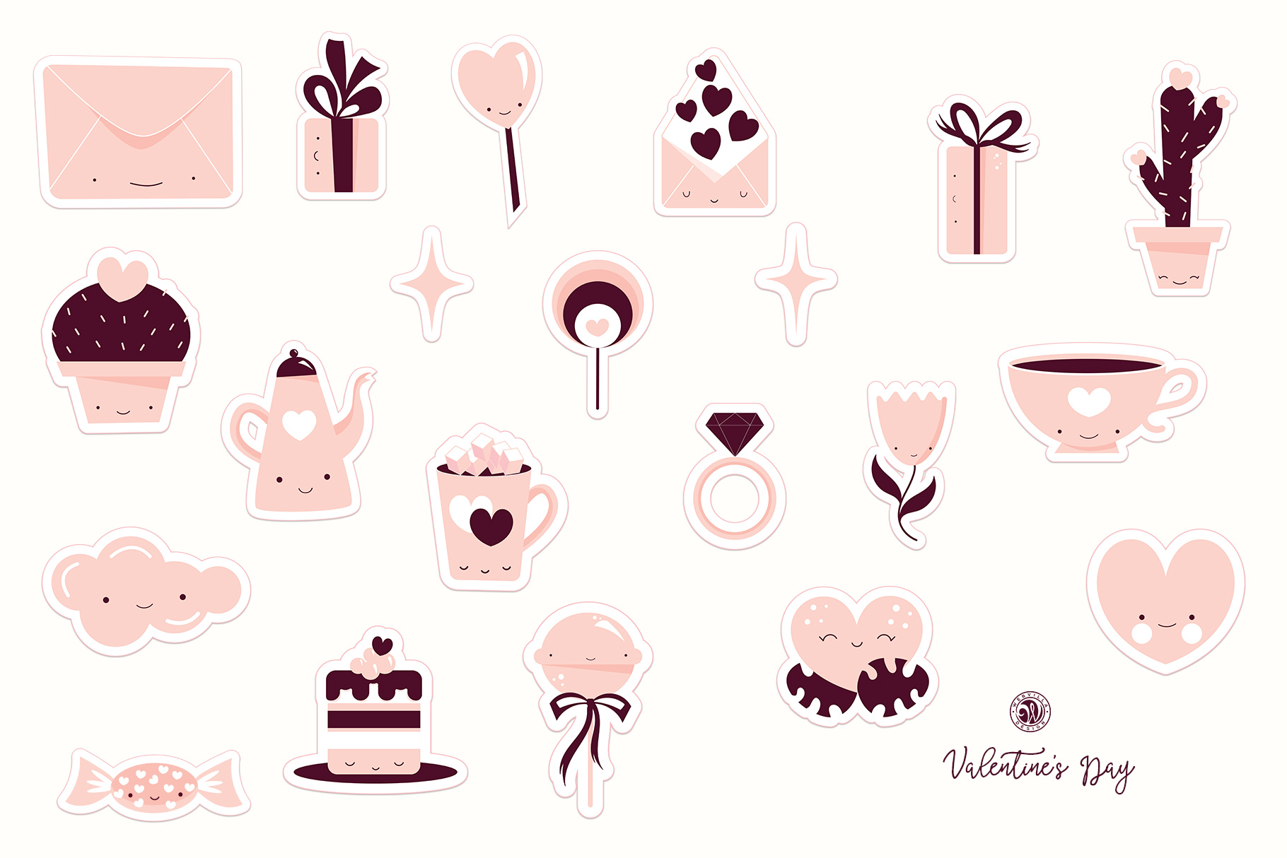 Cute Valentine's Day Stickers example image 6