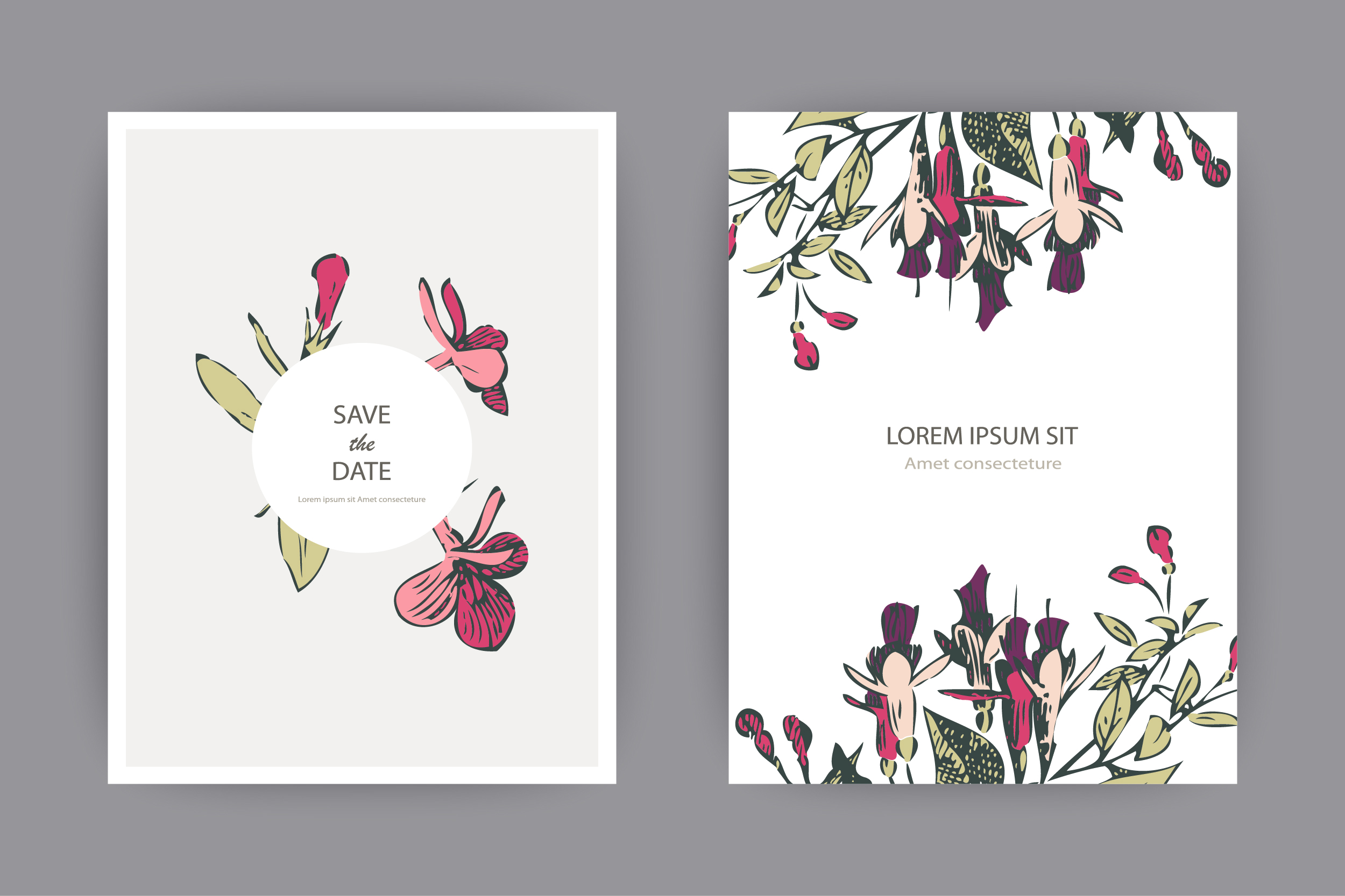 Fuchsia flowers templates for card, invitation, wedding example image 2