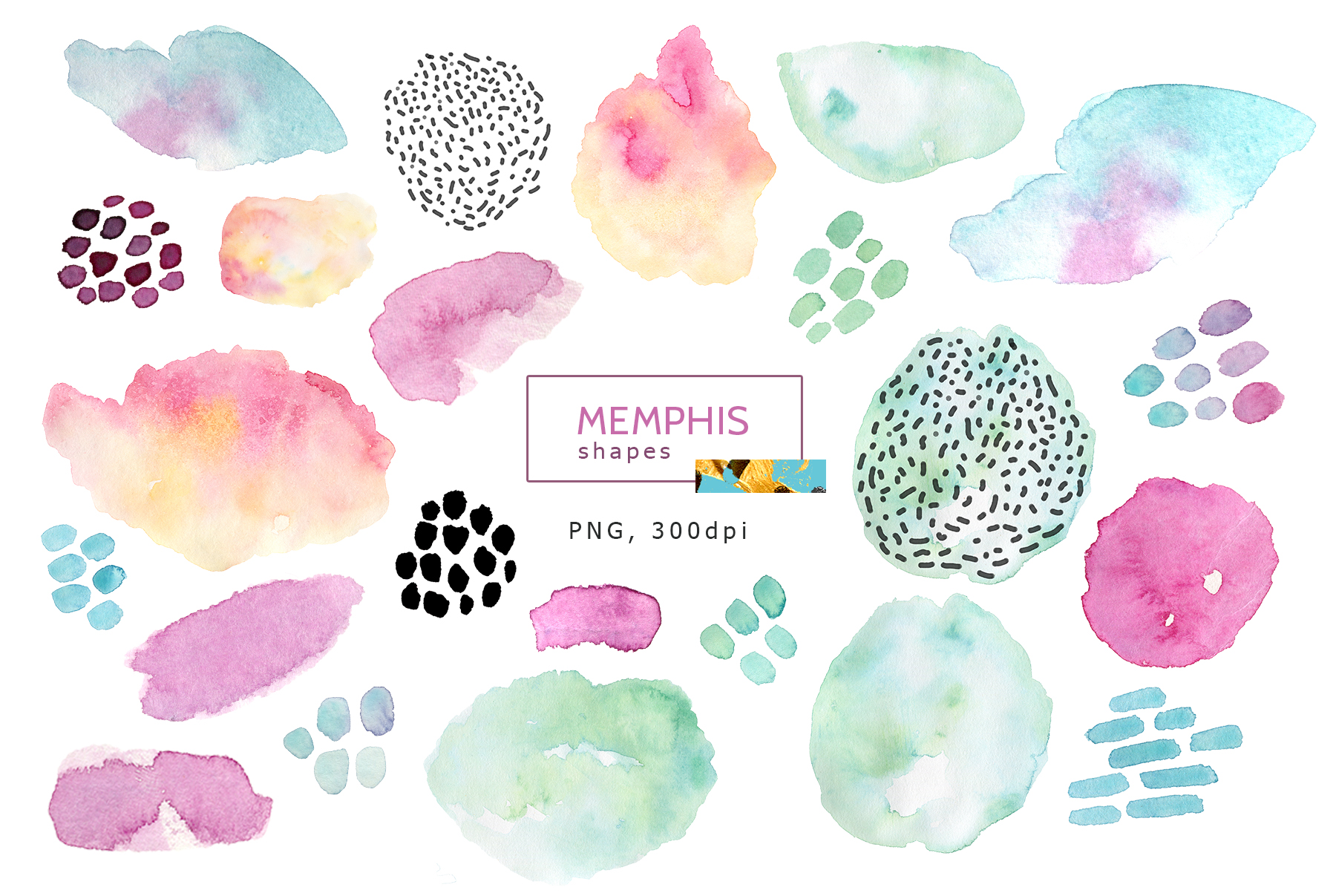Watercolor memphis patterns & shapes example image 7