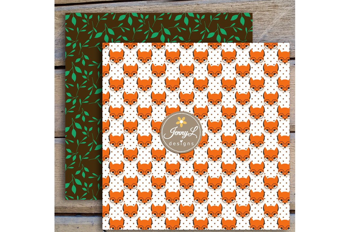 Woodland Fox Digital Papers and Clipart example image 8