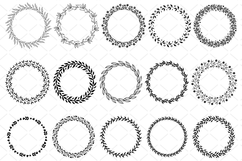 15 Round frames, circle wreaths SVG, decorative border example image 2