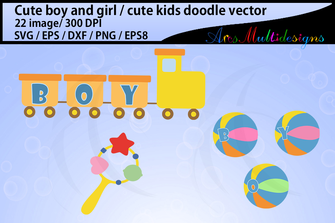 cute kids SVG vector clipart / cute kids clipart / teddy clipart / kawai clipart / car clipart / ball clipart /doodle / vector graphics example image 4