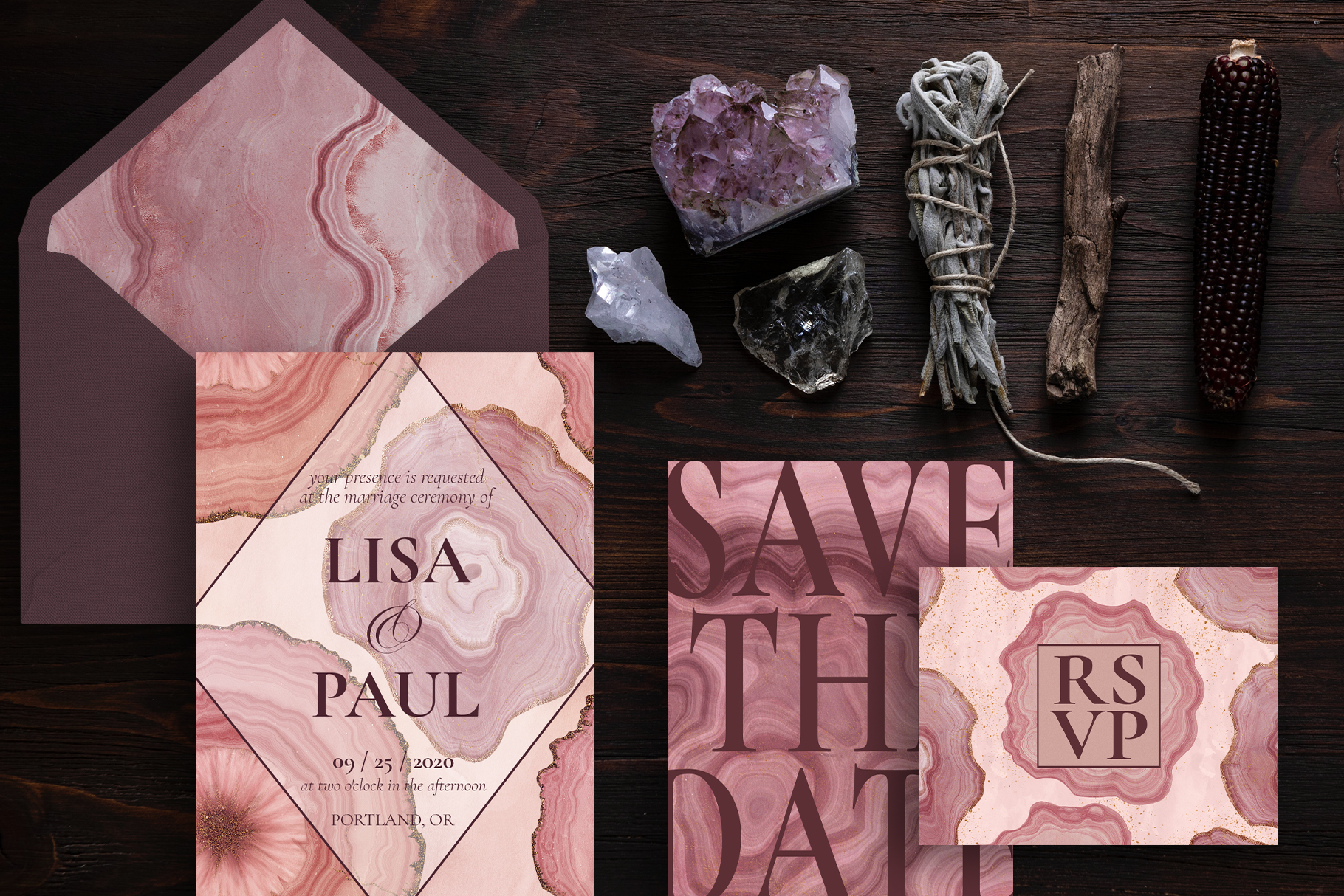 Pink Agate Illustrations, Textures & Patterns example image 6