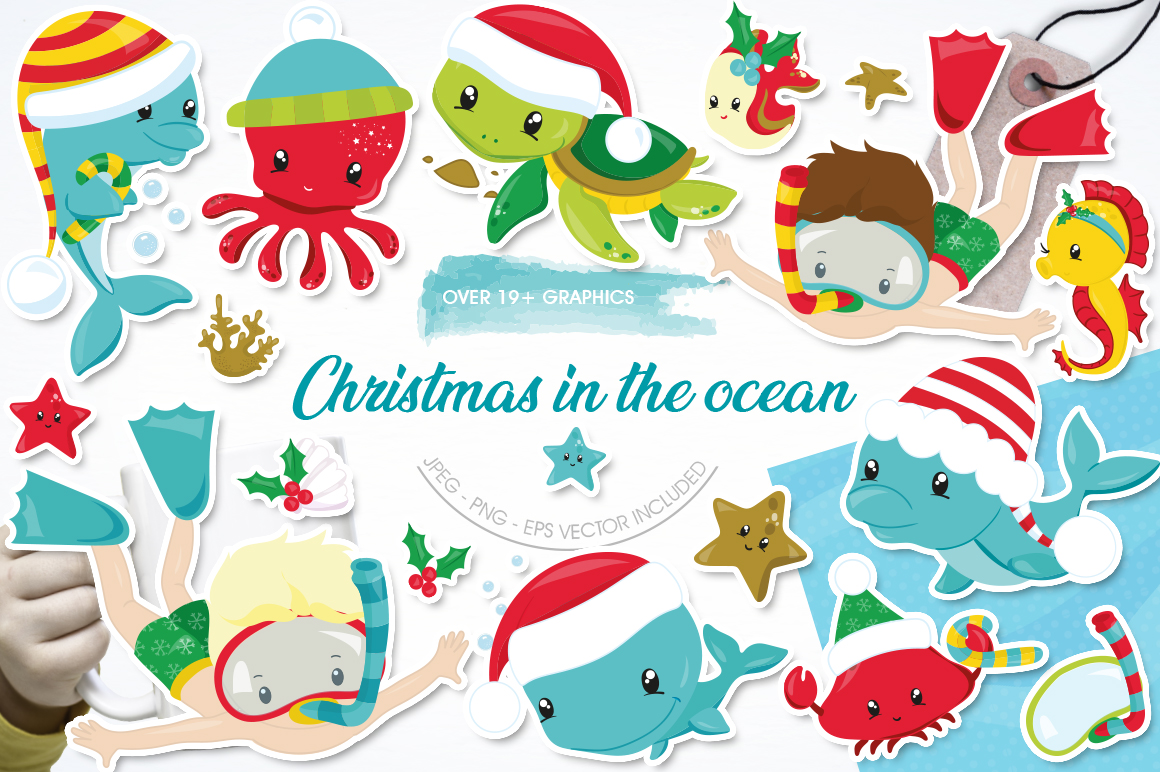 Christmas underwater graphics and illustrations example image 1