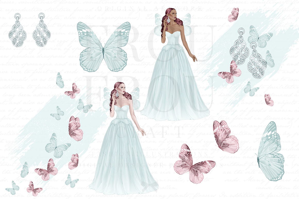 Fairy Tale Princess Butterfly Clip Art example image 3