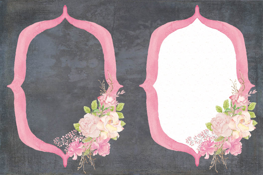 Frames with pink watercolor roses example image 5