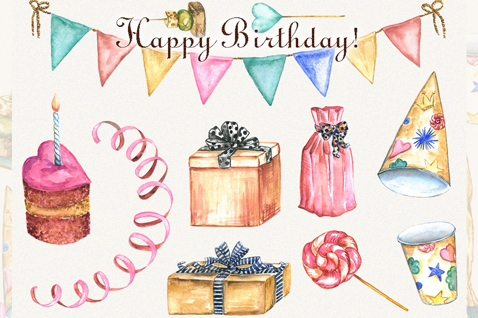 Birthday clipart, watercolor, happy birthday clipart example image 4