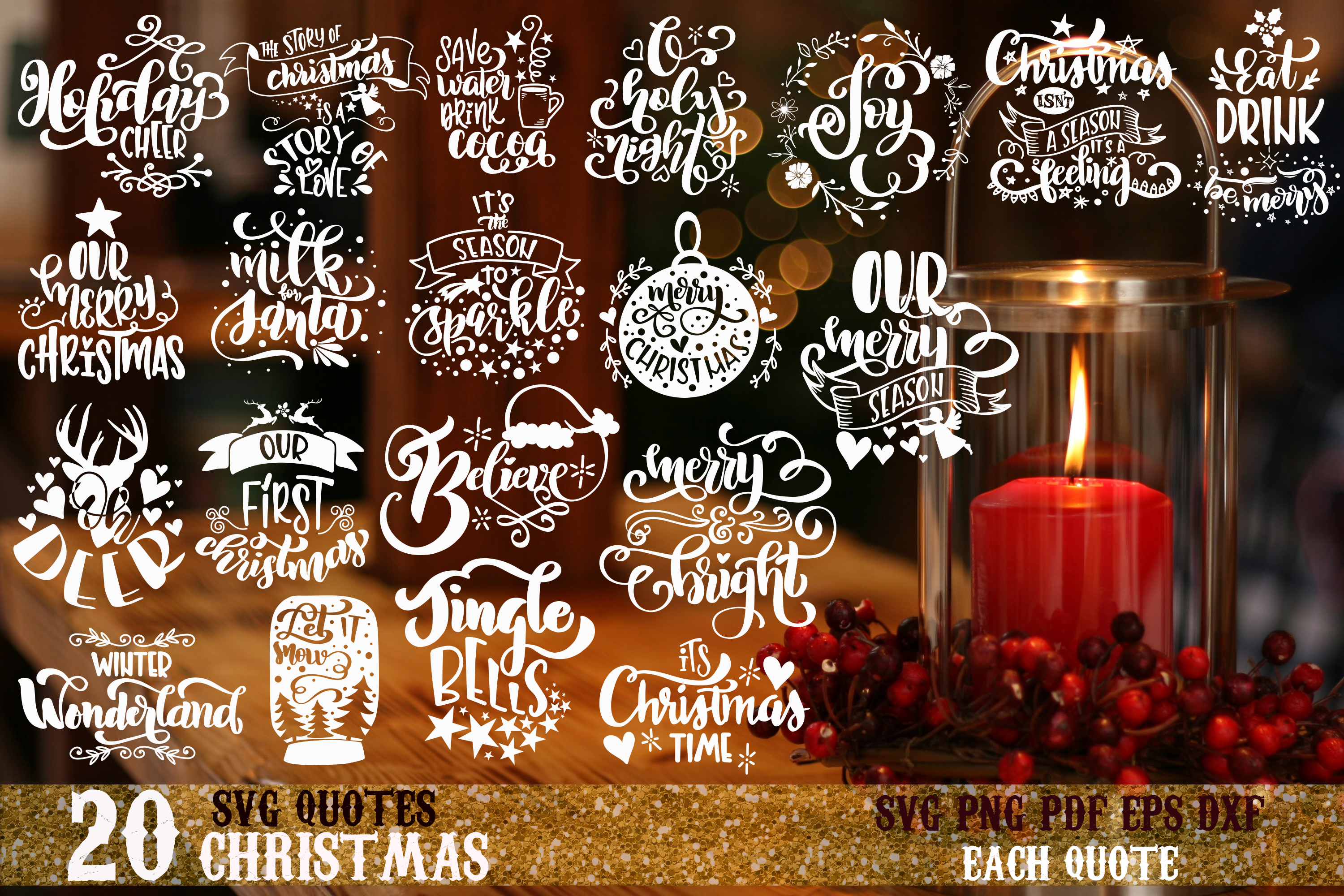 Christmas svg BUNDLE BIG set of 60 quotes example image 2