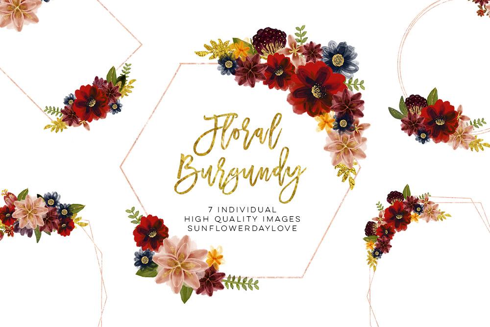 Floral burgundy geometric frame example image 1