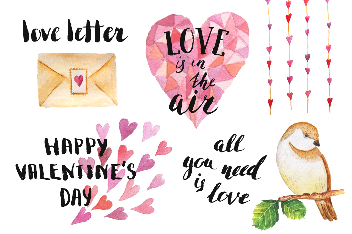 Watercolor Valentine's Day BUNDLE example image 11